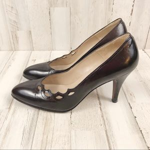 Pappagallo dark brown leather pumps size 6.5